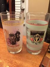 2 Vintage 1998-2004 KENTUCKY DERBY CHURCHILL DOWNS drink glasses Frosted (CN)