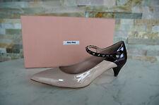 MIU MIU PRADA Pumps Gr 39 Nieten Lack Schuhe Shoes bicolor NEU UVP 495€