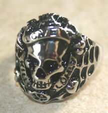 Vintage Silver Biker Skulls Punk Horror Gothic Stainless Steel Ring Size 12 A21