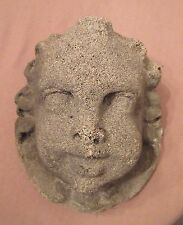 antique heavy wall mount baby cherub putti cement stone face head decor