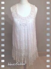 NEWLOOK Beautiful Cream Ivory Lined Lace Mesh Embroidered Bead Dress UK 10 EU 38