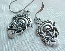 DAY OF THE DEAD Earrings Skeleton Guitar Dia de los Muertos STERLING SILVER TOPS