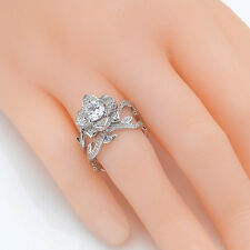 Flower Round Cut CZ 925 Sterling Silver Wedding Band Engagement Ring Sets Size 9