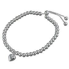 925 Sterling Silver Ball Beads & Heart Charm Slider Friendship Bracelet Gift Box