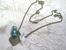 *DREAMING OF THE SEA CHARM SHELL AQUA PEARL CLUSTER* Necklace SAILOR NAUTICAL