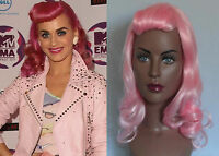 DELUXE KATY PERRY RETRO PIN UP FASHION LONG PINK CURLY WIG *ADJUSTABLE FRINGE!*