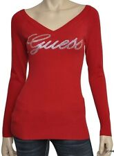 Guess SUZY Crystal Logo V-Neck Knit Sweater Top Pullover Red/Ivory/Black Nwt