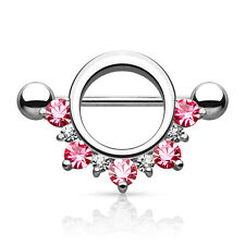 PAIR Nipple shield PINK CZ gem 14G half circle body jewelry piercing ring
