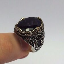 Turkish Islamic Jewelry Lilac Amethyst Stone Vav 925K Sterling Silver Men's Ring