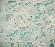 "Stunning 3D Guipure Big Rose Lace Fabric 47"" Wide for Bridal Dress 1/2 Yard"
