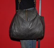 VICTORIA LEATHER CO Gray Leather 'GUMDROP' Hobo Tote Purse Bag Shoulder USA