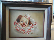Charming Hoppin clown painting in wood frame