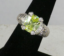 RJ Sterling Silver Large Brilliant Yellow CZ Stone RING w/ Corner Hearts  Size 8