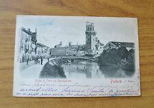 CARTOLINA PADOVA PONTE DI FERRO SUL BACCHIGLIONE VIAGGIATA 1899 SUBALPINA KK