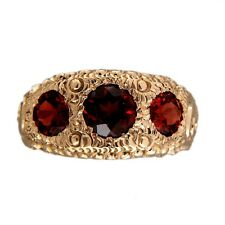 Vintage Victorian 14k Hand Engraved 2.20ct 1900 Yellow Gold Garnet Ring