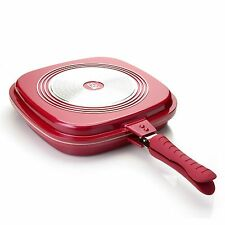 Cook's Companion Cast Aluminum Ceramic Nonstick Triple Flip Pan Sangria