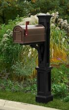 Newport mailbox post with black mailbox