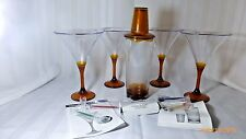 New Tupperware Sheerly Elegant Amber Stemware Martini Glasses Shaker Pics Set