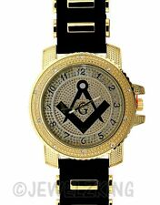 MENS ICED OUT GOLD/BLACK ICE NATION FREEMASON MASON MASONIC BULLET BAND WATCH