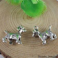 12 Stück Antike Silber Legierung Netter Hund Anhänger Charme Handwerk 50790