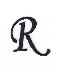 "MONOGRAM LETTERS - 1 1/4"" BLACK LETTER ""R"" - Iron On Embroidered Applique"