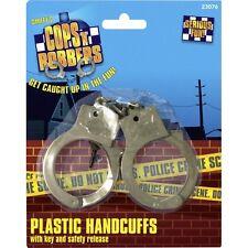 Smiffys Fancy Dress Hand Cuffs Plastic & Keys Cop Convict Stag New