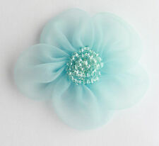 "5 X Large Organza Flowers Sew On Appliques Size: 2""  Colour: Lt Blue  #2"