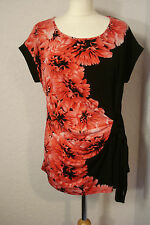 Debenhams black & red/pink floral jersey evening top 16 petite