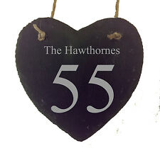 Beautiful Personalised Slate Hanging Heart House Number Name Door Sign Plaque