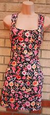 G21 BLACK PINK YELLOW FLORAL VINTAGE TUBE BODYCON PENCIL LONG TOP DRESS BLOUSE M