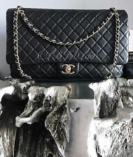 NWT CHANEL 2017 BLACK XXL FLAP BAG BLACK CALF GOLD Travel Messenger Maxi Jumbo