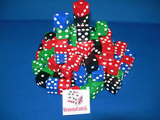 NEW 100 ASSORTED OPAQUE DICE 16mm RED BLUE BLACK AND  GREEN 25 OF EACH COLOR