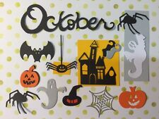 17 Die Cut Sizzix Halloween shapes GHOSTS SPIDERS HAUNTED HOUSE BAT PUMPKIN ETC