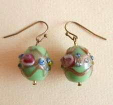 Vintage Green Wedding Cake Lampwork Glass Bead Antique Bronze Earrings Gift Bag
