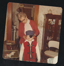 Vintage Photograph Mom With Little Boy Wearing Pirate's Costume for Halloween