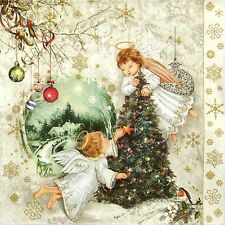 4x Single Lunch Party Paper Napkins for Decoupage Decopatch Two Angels & X-Mas