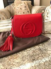 NWT Gucci Soho Leather Small Chain Crossbody Shoulder Bag, Red
