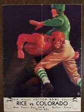"1938 Historic 2nd Cotton Bowl Colorado vs Rice Football Program/""WHIZZER""WHITE!!"