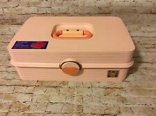 Vintage Caboodles Pink Travel Train Makeup Case Three Trays Large 2440 (BinK)