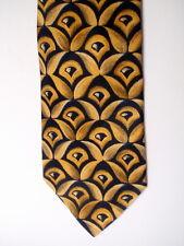 schöne breite Krawatte aus Seide - schwarz-gelbes Dekor, Vintage - made in Italy