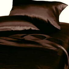 Soft  Polyester Satin Lingerie Bed Sheets + Pillowcases Set CAL KING SIZE BROWN
