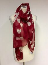 MOSCHINO CHEAP CHEAP AND CHIC RED HEART LONG SILK SCARF