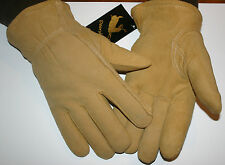 Large Natural Deerskin Suede Split Leather HeatLok U-100 Insulated Gloves