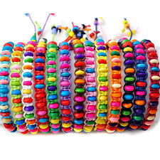 10Pcs Assorted Rainbow Colorful Wood Beads Handmade Braided Friendship Bracelets