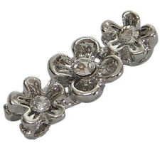 3-hole Silver Metal Rhinestone Petite Flower Spacer Bead Connector- 6pcs (#4361)