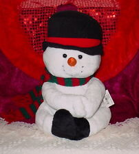 SNOWMAN WEARING BLACK HAT ** SO CUTE **13 INCHES ** NEW **