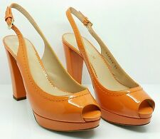 $575 EMPORIO ARMANI ORANGE WOMAN SHOES X3P015 LEATHER MADE IN ITALY SIZE 7