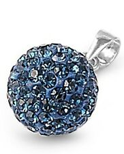 Silver Pendant with Montana Blue Crystal 10 mm Montana Blue Crystal modern new