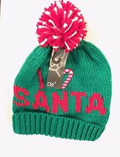 I Love Santa Christmas Knit Beanie Skull Ski Pompom Cap Hat Green Ugly Christmas
