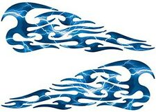 "Tribal Flame Decals Lightning Blue Motorcycle Tank 13"" REFLECTIVE FL01"